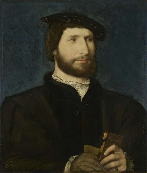 Portrait of a man holding a volume of Petrarch, c.1530 (oil on panel)