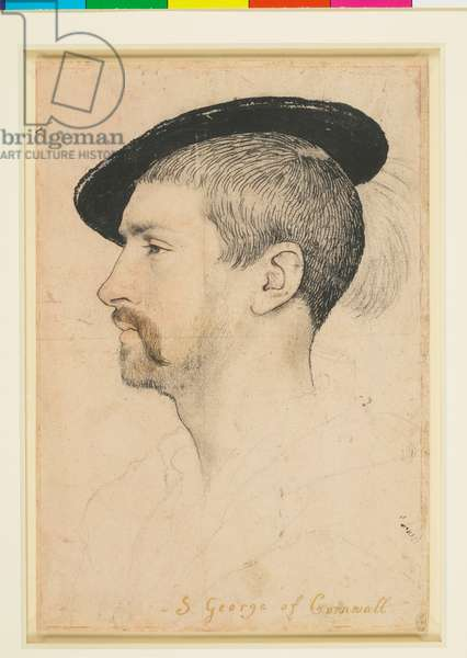 Simon George, c.1535 (black and coloured chalks, pen and ink, brush and ink, and metalpoint on pale pink prepared paper)