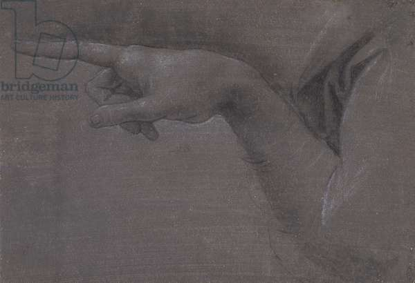 The pointing hand of the angel in The Virgin of the Rocks, c.1517-20 (black chalk, with white heightening, on dark grey prepared paper)