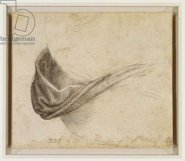 The drapery of the Virgin's hip, c.1510-15 (black chalk, with white heightening on paper)
