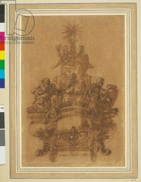 A design for a float for Agostino Chigi, 1658 (pen and brown wash over black chalk, on discoloured white paper)