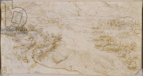 A view of the Adda river valley, c.1511-13 (chalk on paper)