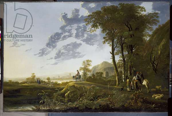 An Evening Landscape with Figures and Sheep, c.1655-59 (oil on canvas)