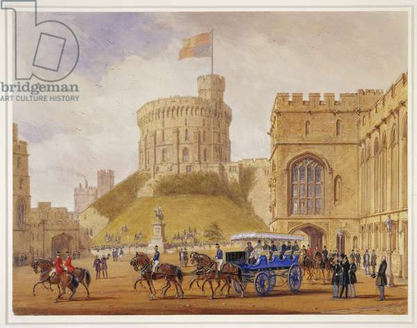 The Queen driving out with Louis-Philippe from the Quadrangle at Windsor Castle, 10 October 1844