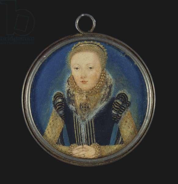 Elizabeth I, c.1565 (w/c on vellum laid on playing card)
