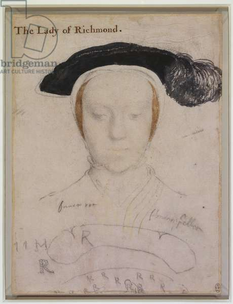 Mary, Duchess of Richmond and Somerset, c.1532-33 (black & coloured chalks, brush & ink on paper)
