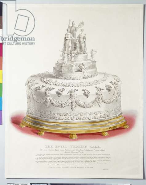The Royal Wedding Cake, at the Marriage of Queen Victoria and Prince Albert, 10th February 1840 (hand-coloured litho)