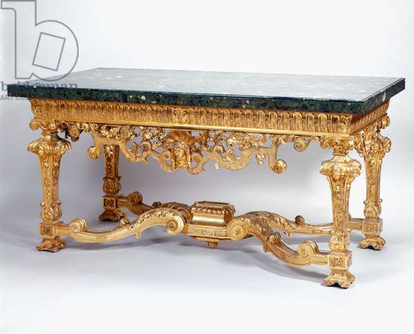 One of a pair of side tables, c.1701 (carved and gilded pine, marble veneer, stone)
