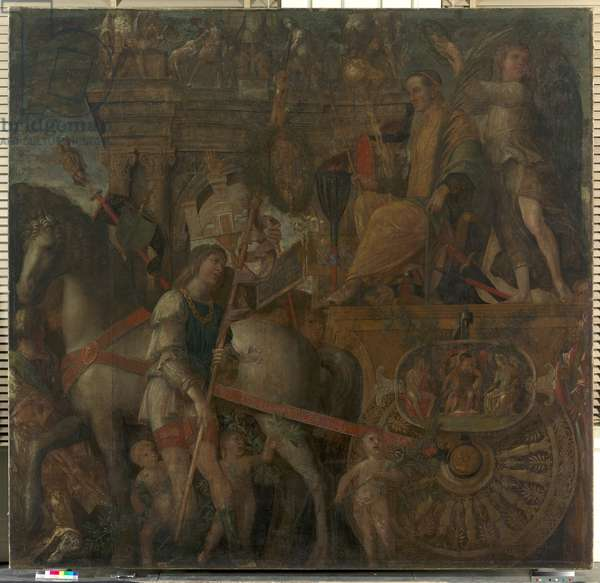 The Triumphs of Caesar, IX: Julius Caesar on his Triumphal Chariot, c.1484-92 (tempera on canvas)
