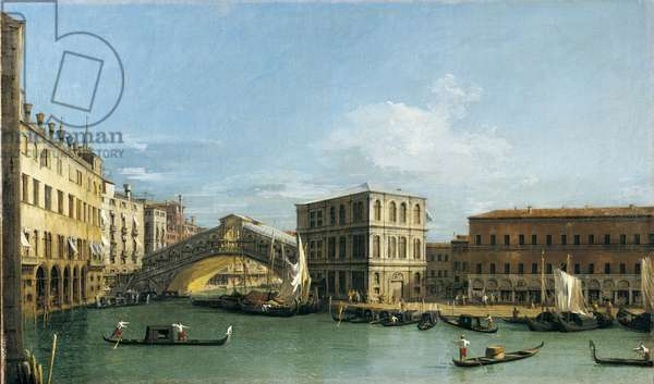 The Rialto Bridge from the north, c.1726-27 (oil on canvas)
