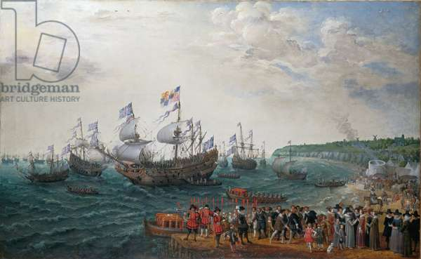 The Embarkation at Margate of Elector Palatine and Princess Elizabeth, 1623 (oil on canvas)