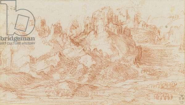 A mountainous landscape, c.1506-10 (chalk on paper)