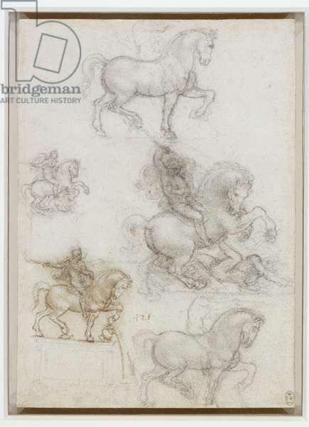 Studies for an equestrian monument, c.1517-18 (pen & ink and chalk on paper)