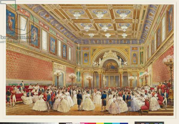 The Ballroom, Buckingham Palace, 17th June 1856 (w/c on paper)