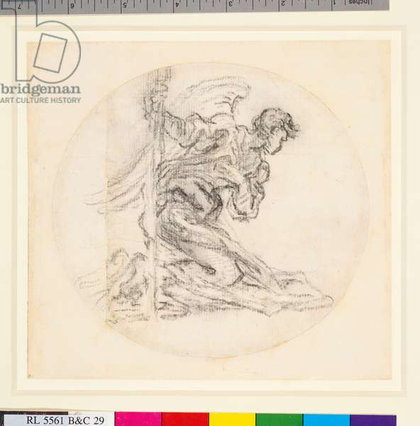 A study of an angel from the altar of the Cappella del SS Sacramento in St Peter's, Rome, 1673-74 (chalk on paper)