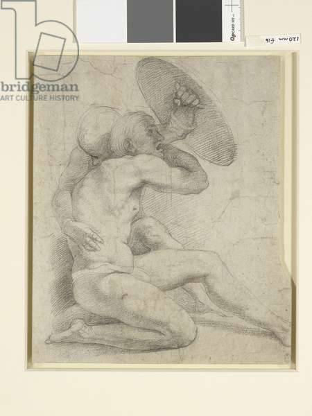 Two nude figures crouching, c.1513-14 (black chalk on paper)