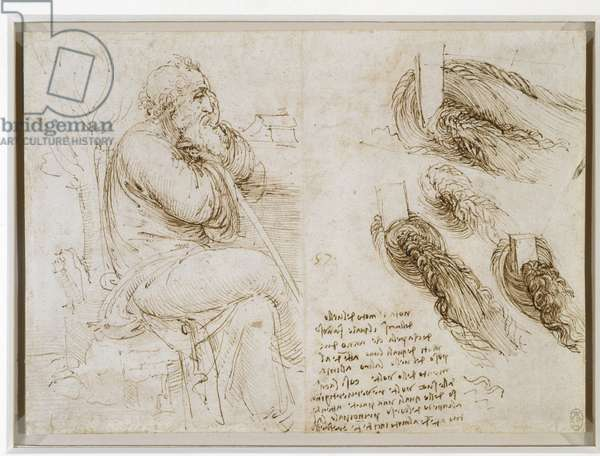 A seated man, and studies and notes on the movement of water, c.1510 (pen & ink on paper)