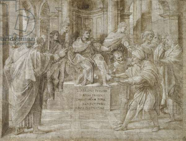 The Conversion of the Proconsul, c.1514 (metalpoint, wash and white heightening over pen & ink on paper)