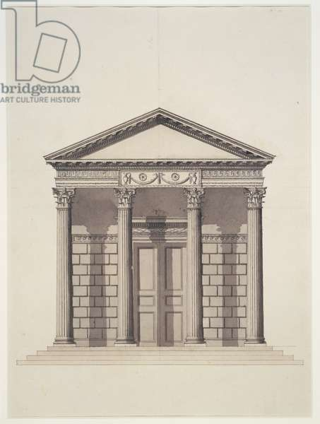 Design for a Corinthian Temple for Kew, c. 1759 (pen and ink over pencil and wash)