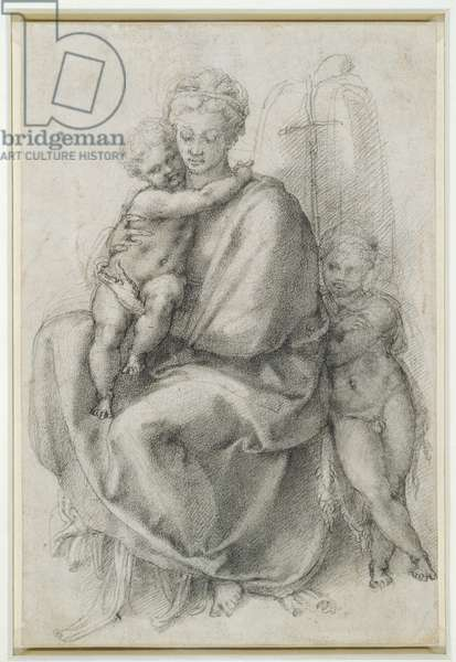 The Virgin and Child with St. John the Baptist, c.1532 (black chalk on paper)