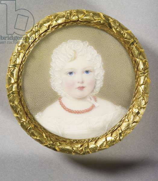 Queen Victoria (1819-1901) when Princess Victoria, 1820 (w/c on ivory laid on card)