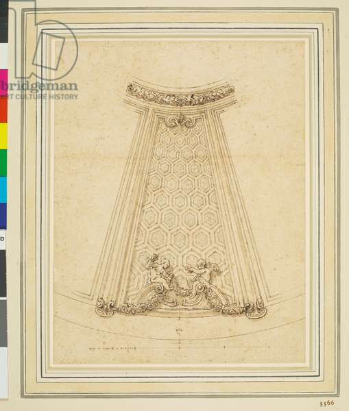 A study for the decoration of the Dome of the Chiesa Collegiata, Ariccia, c.1660-62 (pen and brown wash over black chalk on paper)