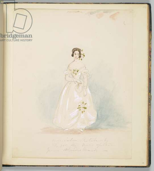 Design for Queen Victoria's bridesmaids' dresses, c.1840 (pencil & w/c on paper)