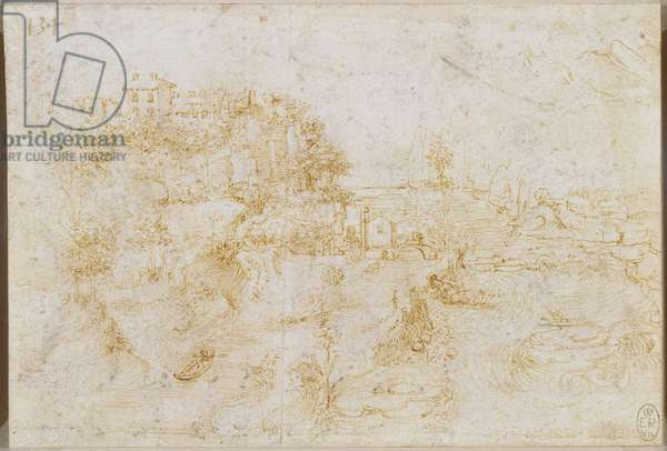 A view of the Adda river valley, c.1511-13 (pen & ink on paper)