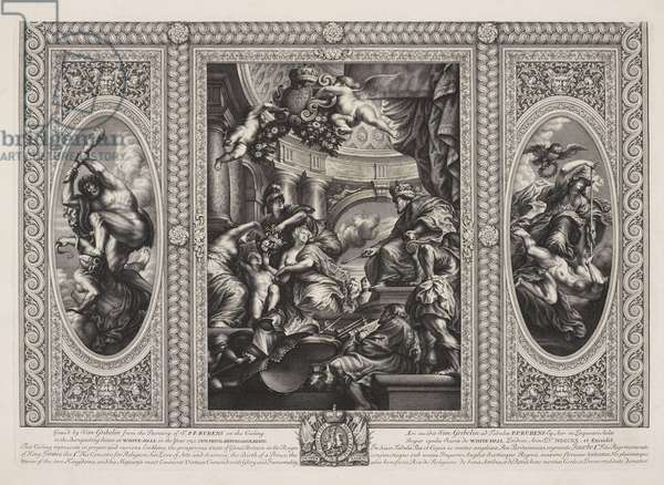 The Peaceful Reign of James I, ceiling, Banqueting House, Whitehall, 1720 (engraving)