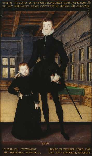 Henry Stewart, Lord Darnley and his brother, Charles Stewart, Earl of Lennox, 1563 (oil on panel)