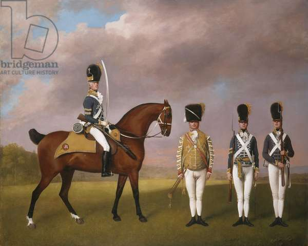 Soldiers of the 10th Light Dragoons, 1793 (oil on canvas)