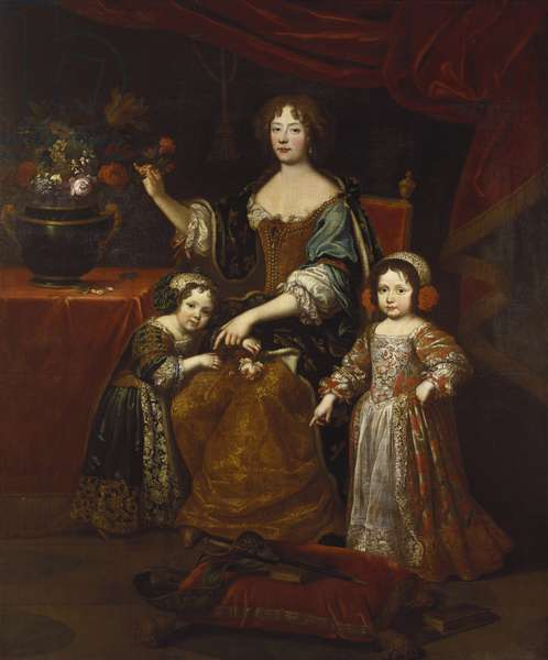 Elizabeth Charlotte, Princess Palatine, Duchess of Orléans, with her son Philippe, later Regent of France, and daughter, Elizabeth, later Duchess of Lorraine, c.1678-88 (oil on canvas)