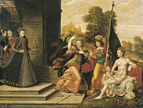 Elizabeth I and the three goddesses, 1569 (oil on panel)
