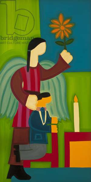 Jose Maria y su ángel, 2009, (oil on linen)