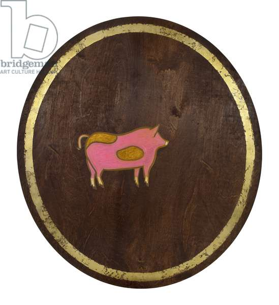 The Pig, 2009, (gilded birch on plywood)