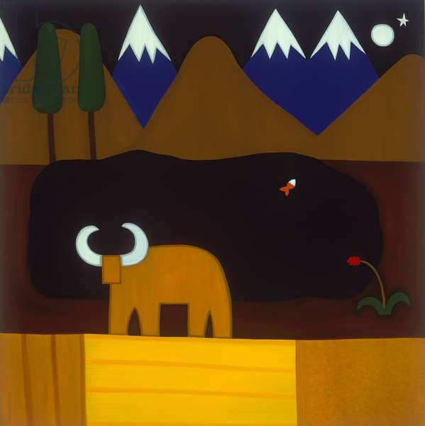 The moon and the bull in the Peruvian mountains, 2006, (oil on linen)