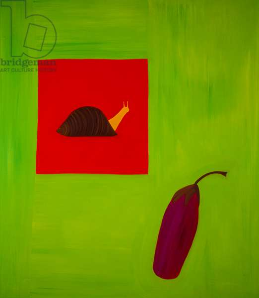 Snail and aubergine,1998,(oil on linen)