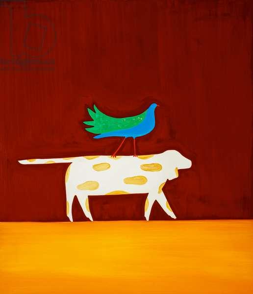 Dog and bird,1998,(oil on linen)