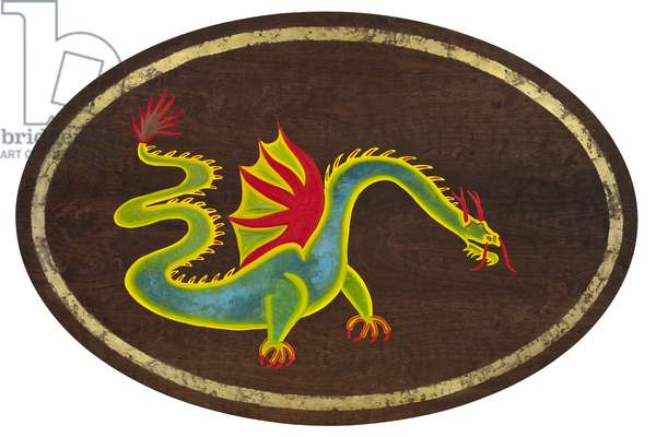The Dragon, 2009, (gilded birch on plywood)