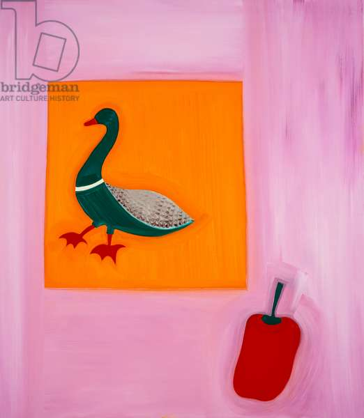 Duck and pepper,1998,(oil on linen)
