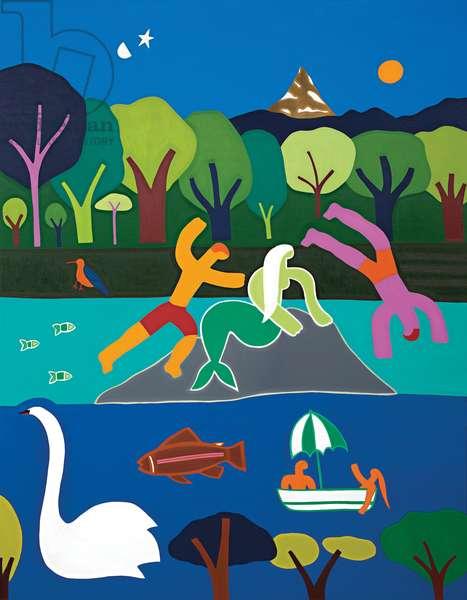 Les baigneurs sous le charme de la sirène du lac Léman, 2016, (oil on linen)