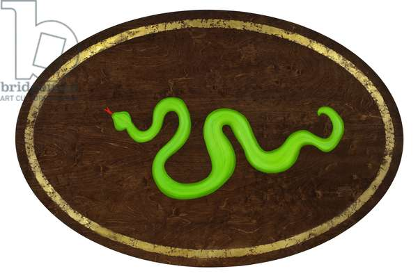 The Snake, 2009,(gilded birch on plywood)