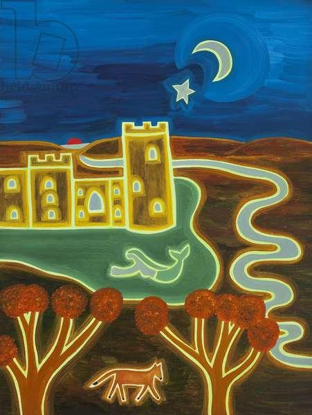 Bodiam Castle by moonlight, 2010, (oil on linen)