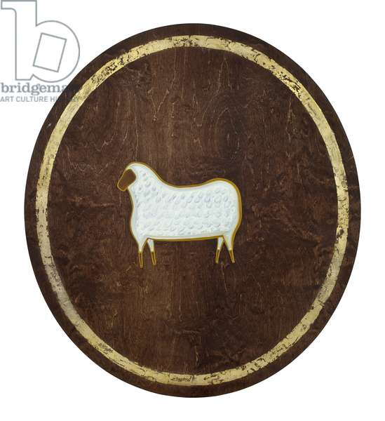 The Sheep, 2009, (gilded birch on plywood)