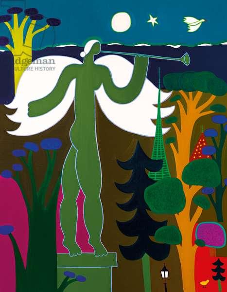 L'ange joue de la trompette sur le toît du Musée d'Art et d'Histoire, 2015, (oil on linen)