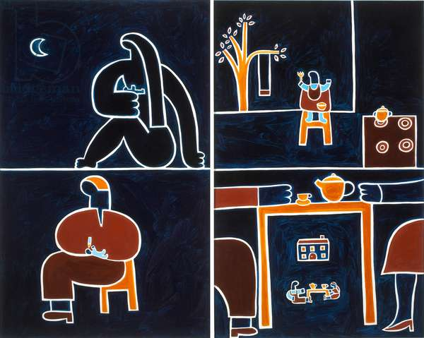 The meals,2001,(oil on linen)