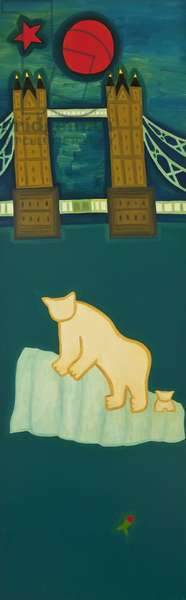 The polar bear and his cub visit London, 2009, (oil on linen)
