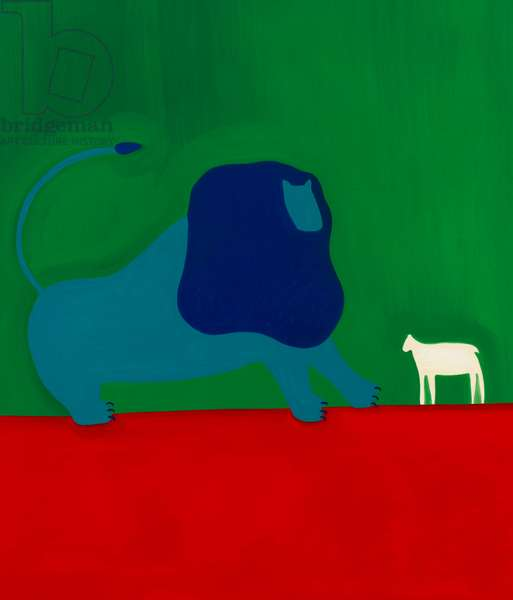 The lion and the lamb,1998,(oil on linen)