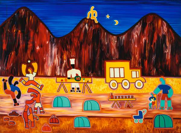 The last night at the campsite,2003,(oil on linen)