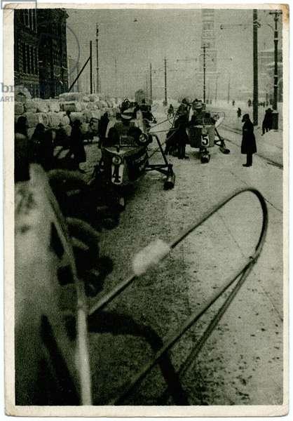 Soviet Postcard Depicting Aerosleds on the Street In Leningrad, early 1930s (postcard)